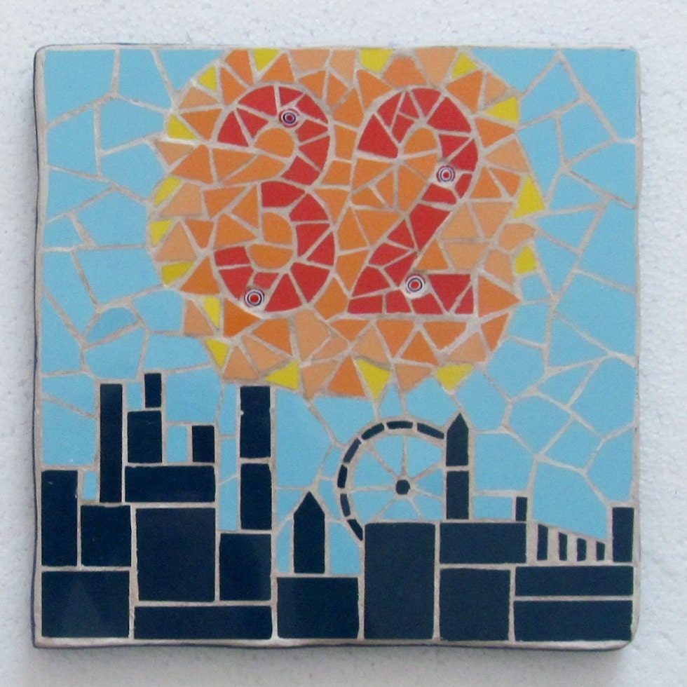 8763c1ca27f6a Decorative house number in mosaics; mosaic house sign/plaque; variety of  sizes, colours and themes available