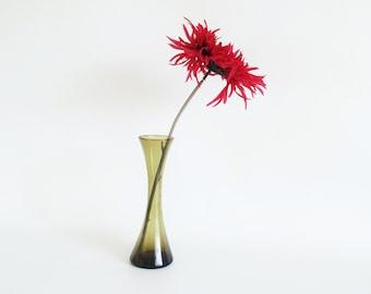 bud vase green glass etsy