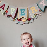 Personalized Name Banner, Fabric Bunting, Baby Nursery, Baby Shower Gift, Pennant, Felt Garland, Name Sign Kids, Modern Nursery