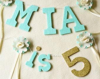 "Flower NAME & is Number Banner SET / "" is # "" / Felt with Glitter number  / Birthday Smash Cake Banner / 2-3"" Letters 4"" Number"