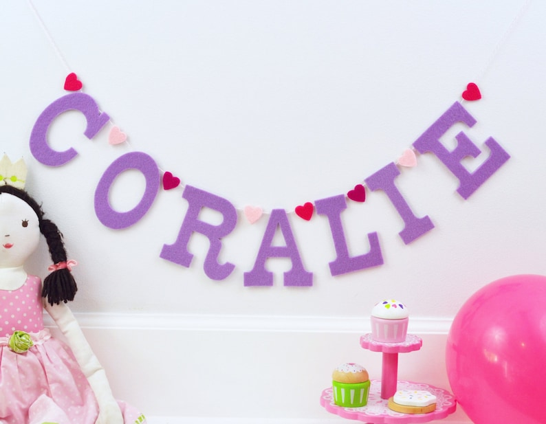 Valentine Heary Felt Letters Name Sign Handmade Baby Name image 0