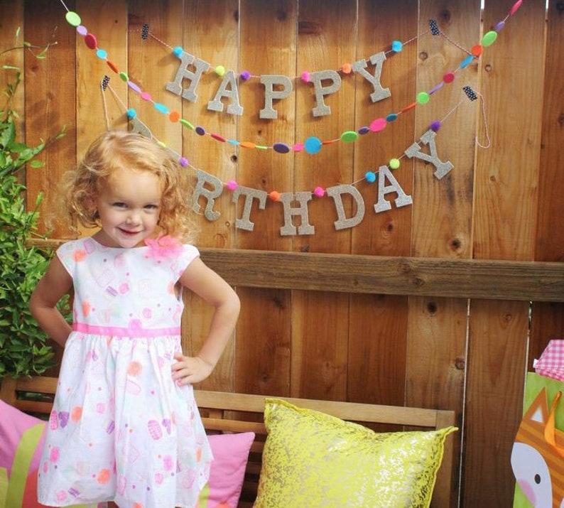 Glitter HAPPY BIRTHDAY Banner w/ Pom Poms Birthday Garland image 0