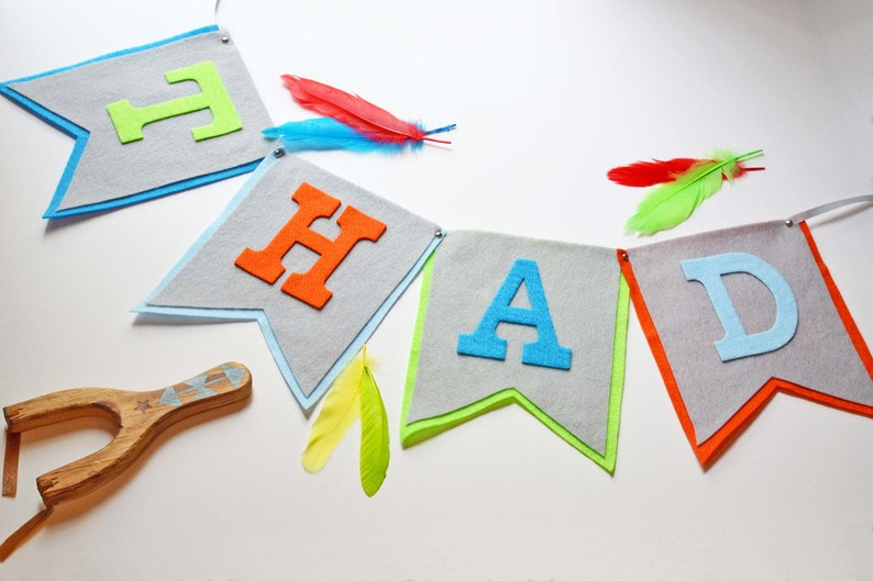 Felt Grey Blue & Green Baby Boy Name Banner Bunting Banner image 0