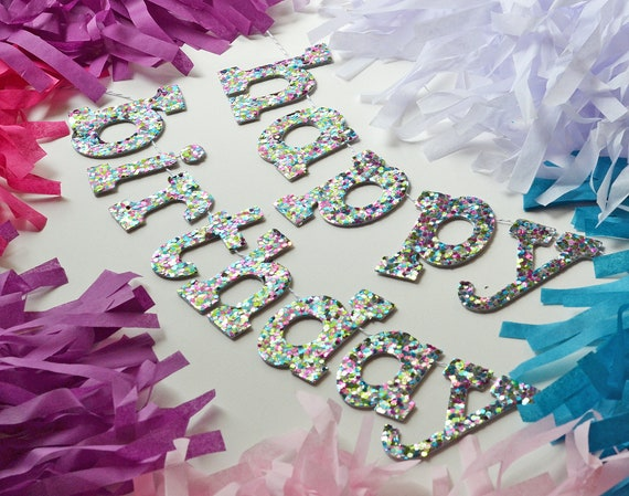 Glitter Birthday Banner With Lower Case Letters In Confetti