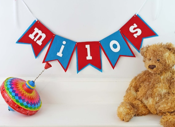 Red, White & Blue, Circus Theme Banner, Felt Name Pennant