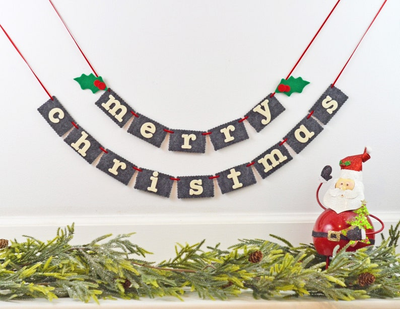 Merry Chirstmas Banner Christmas Mantle Garland Holiday image 0