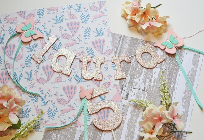 Personalized Name Banner & Cake Topper Set Fancy Nancy image 0