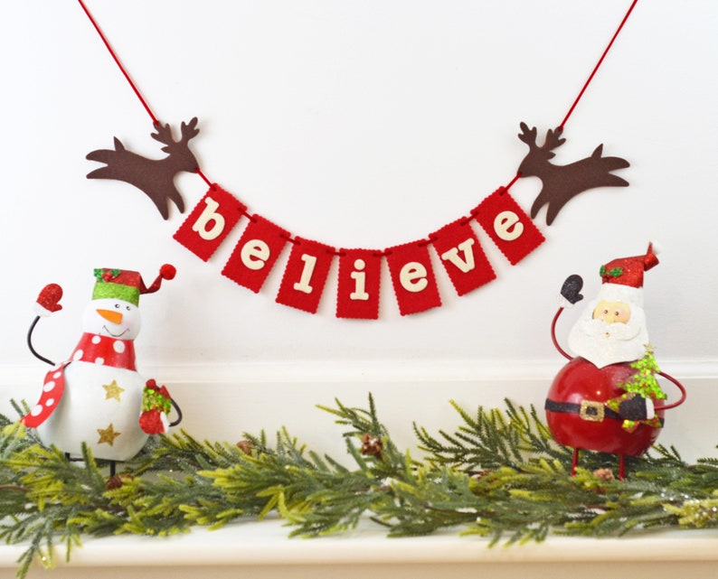Believe Banner Christmas Mantle Garland Holiday Hostess image 0
