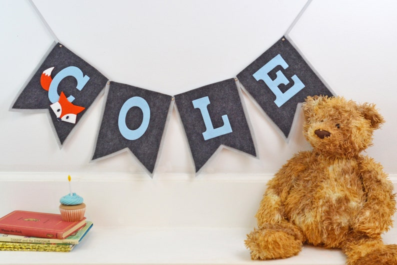 Woodland Fox Nursery Theme Baby Name Pennant Forrest Critter image 0