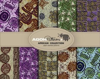 AFRICAN Seamless Patterns pack of 10  - Africa -  digital paper scrapbook - print