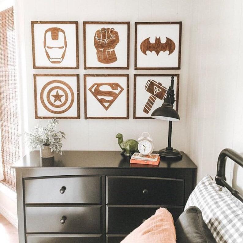 Superhero Sign 11 Superhero Wall Art Boys Bedroom | Etsy