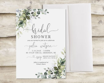 bd531e74093 Greenery Bridal Shower Invitation