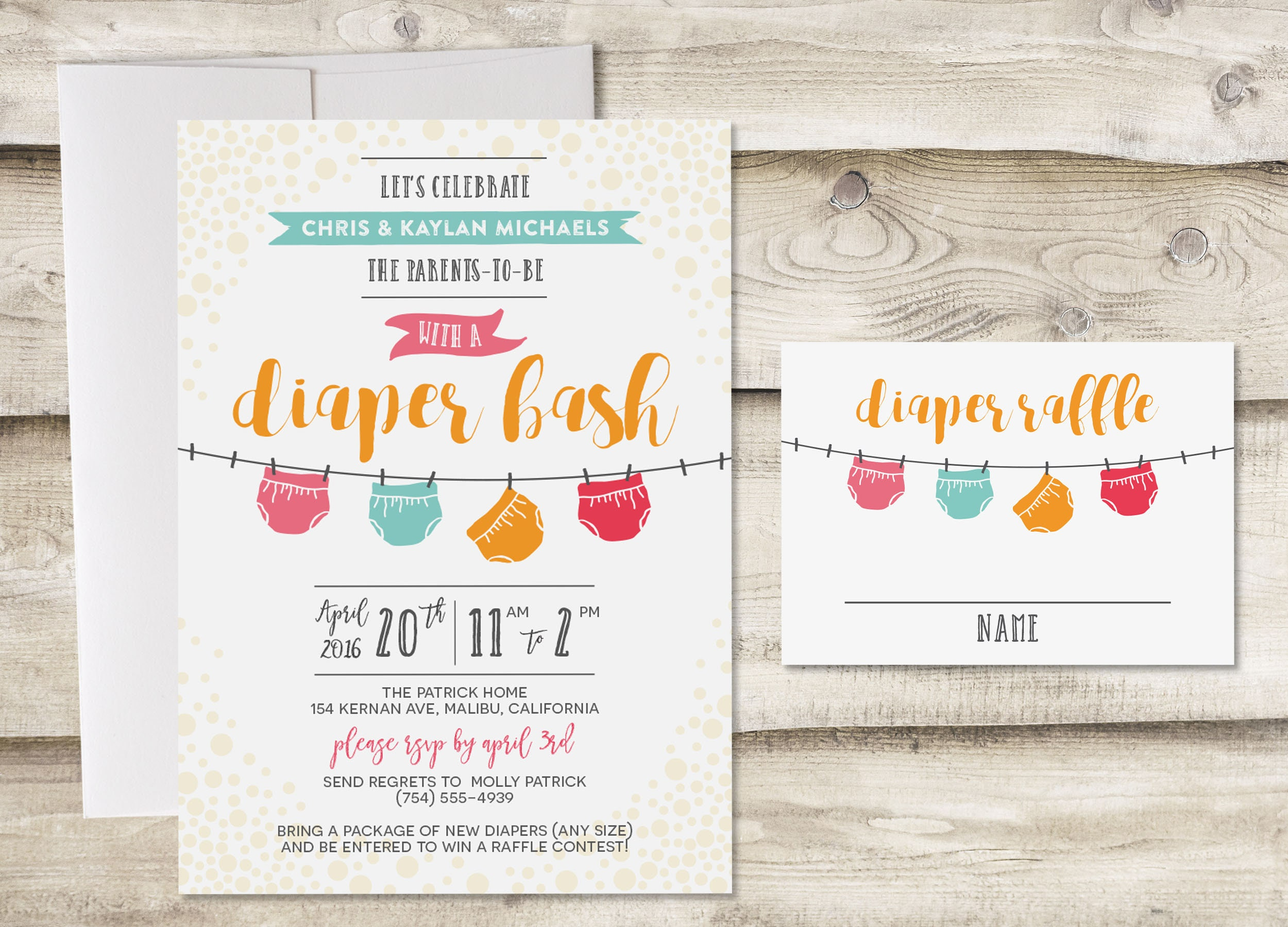 Diaper Raffle Baby Shower Invitation Bash Sprinkle Couples