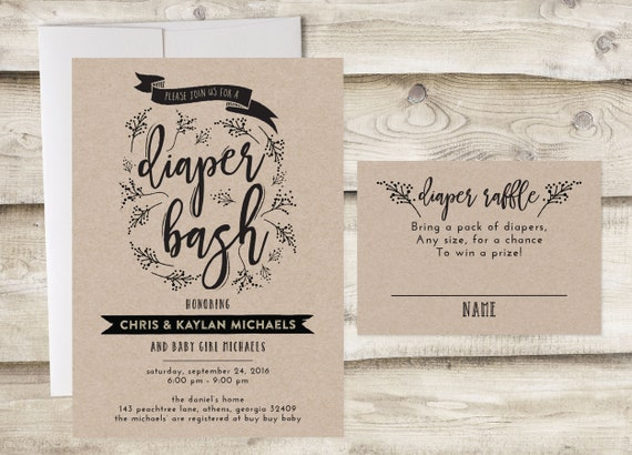 Diaper Bash Baby Shower Invitation Couples Digital And Raffle