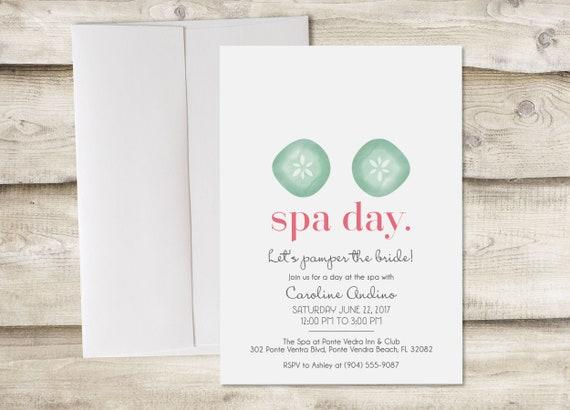 spa day bridal shower invitation spa bachelorette party spa etsy