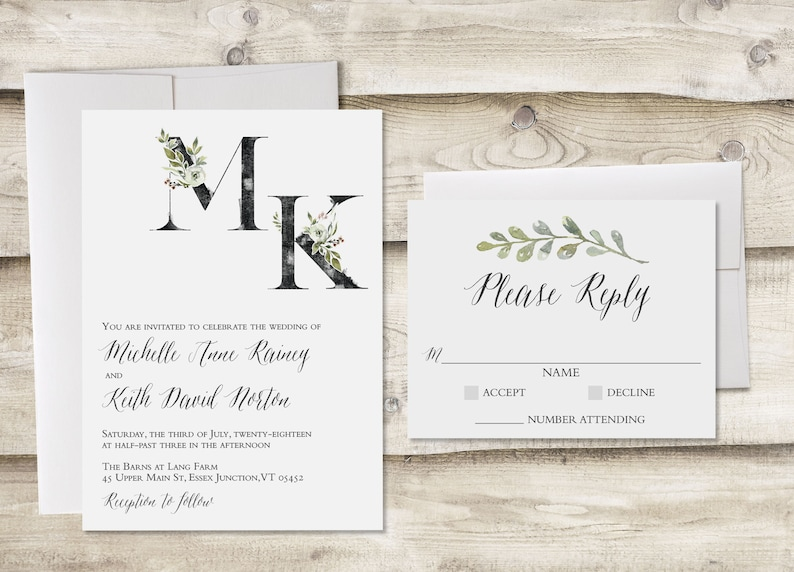 The Essex Wedding Invitation And Rsvp Set Dusty Blue Wedding Invitation Greenery Wedding Invite Customized Floral Wedding Invitaiton