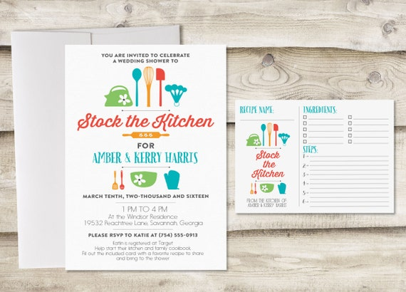 Stock The Kitchen Bridal Shower Invitation With Recipe Card Etsy