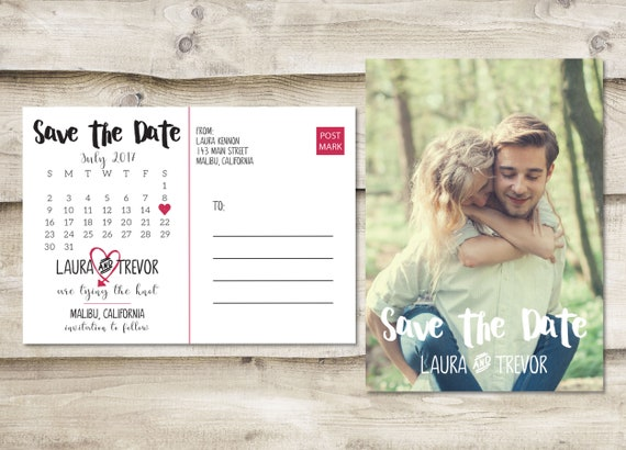 Photograph Save the Date Save Our Date with Picture Island Save The Date Postcard with 3 Photos Destination Tropical Save the Date