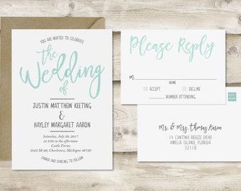 Watercolor Wedding Invitation & RSVP Postcard, Turquoise Wedding Invitation, Teal Blue Watercolor Wedding Invite, Customized Wedding Invite