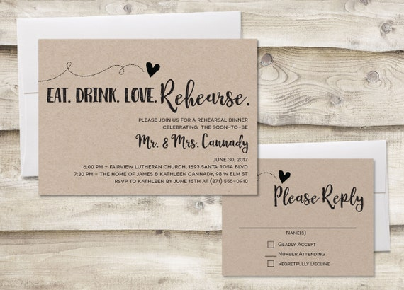 Rustic Rehearsal Dinner Invitation With Rsvp Card Rehearsal Dinner Invitation Wedding Rehearsal Dinner Invitations With Rsvp Card