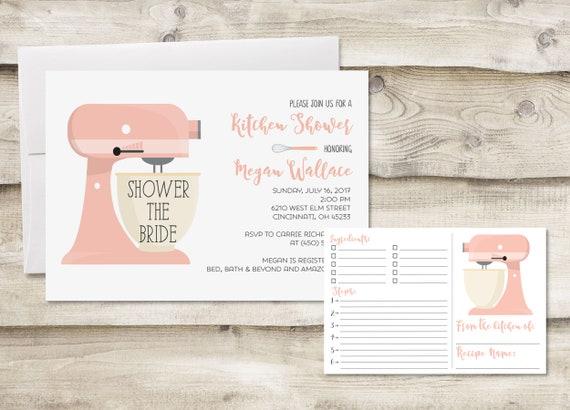 Kitchen Shower Recipe Card Invitation Kitchen Bridal Shower Etsy