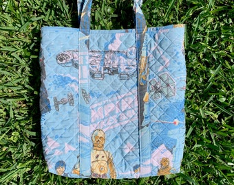 Vintage Star Wars Quilted Tote Bag with Strap