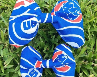 Handmade Chicago Cubs Dog Collar Bow Tie with Velcro Strap | Baseball Dog Bow | Sports Dog Bow