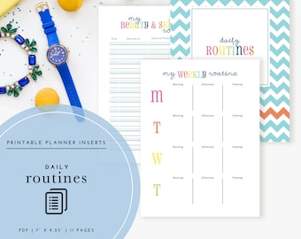 Daily Routines Planner Inserts / Binder Kit PDF - A Printable PDF
