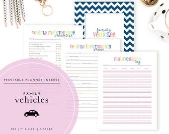 Family Vehicles Planner Inserts / Binder Kit PDF - A Printable PDF