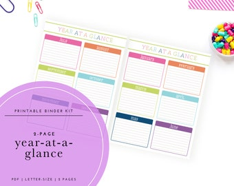 Printable Year-at-a-Glance 2-Page Planning Spread
