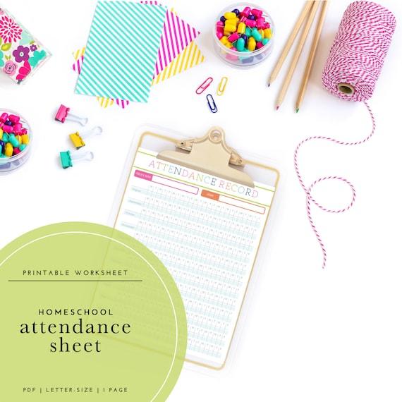printable homeschool attendance log etsy