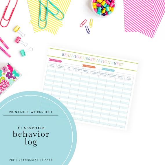 Printable Student Behavior Log Classroom Observation Sheet Etsy