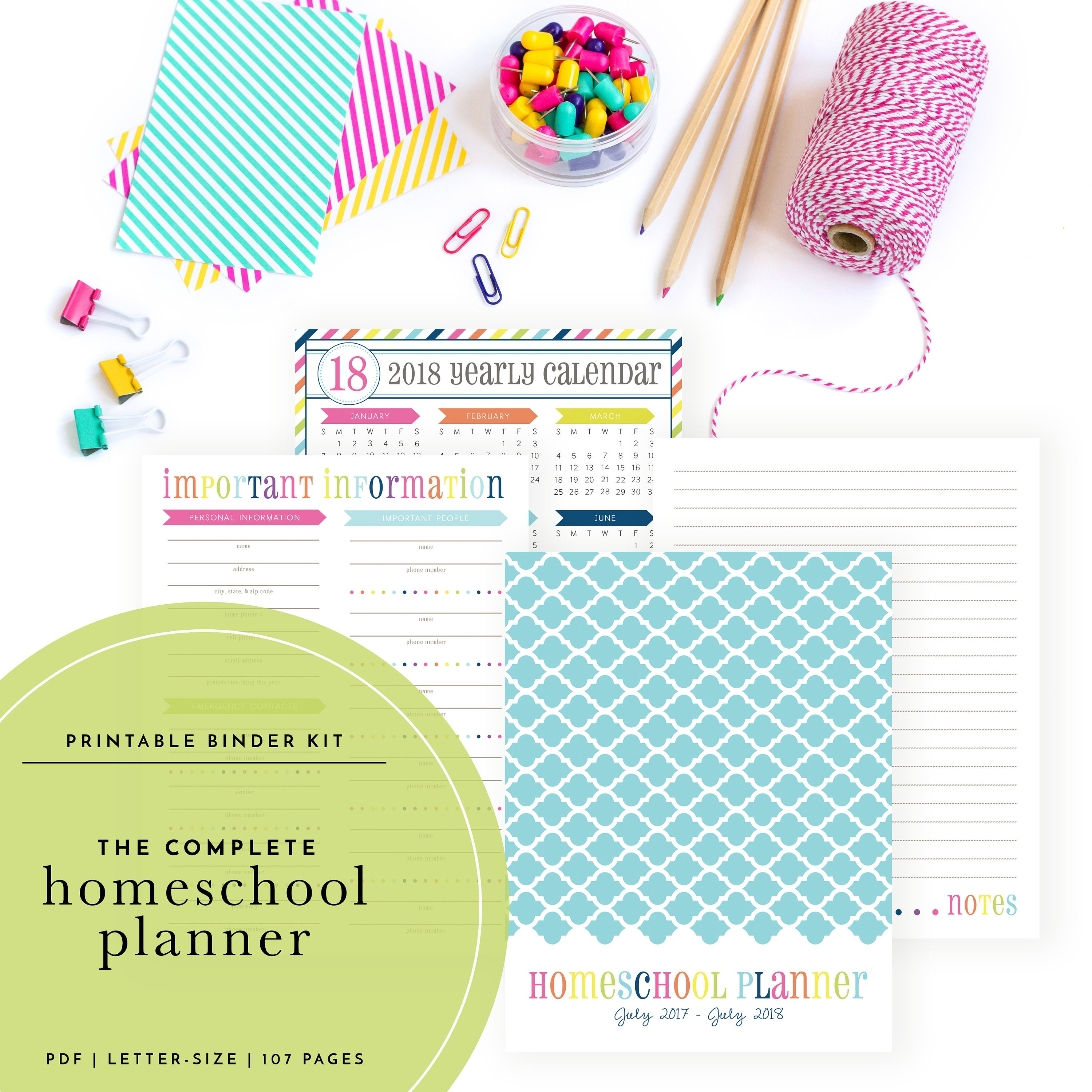 The Complete 2018-2019 Homeschool Planning Kit Includes | Etsy