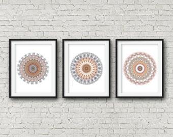 Set of three prints wall art white modern art set 3 posters boho olive green navy blue orange salmon pink fall autumn decor bold mandala art