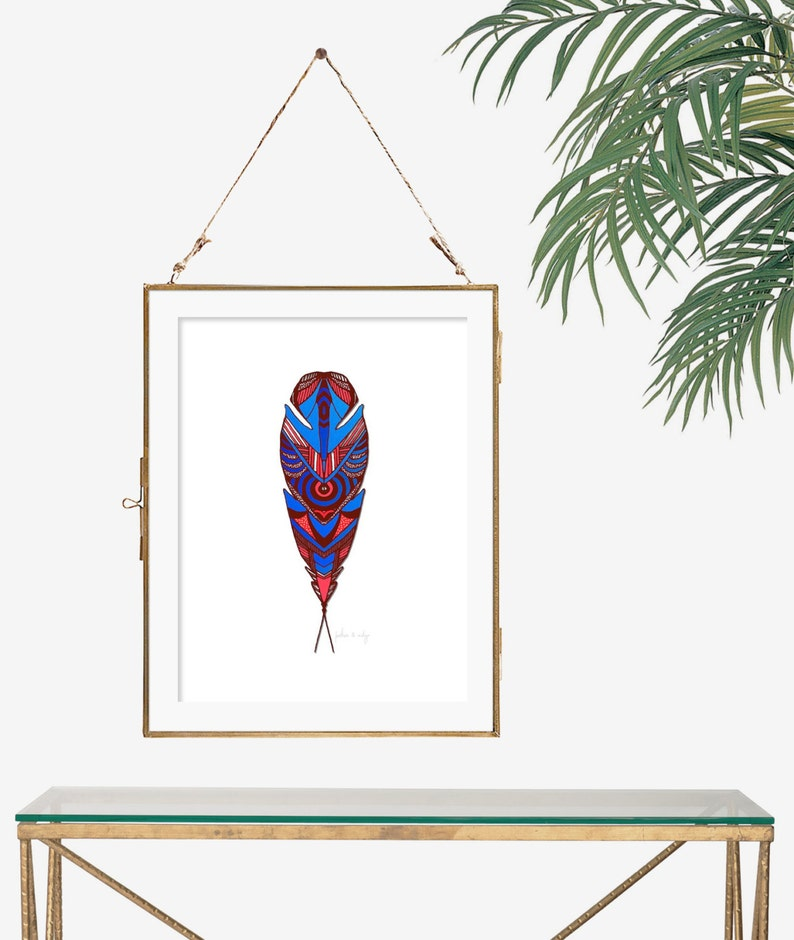 Wondrous Blue Red Poster Feather Drawing Hand Drawn Print Dark Red Wall Decor White Wall Art Nature Illustration 8X10 Print Tribal Drawing Unframed Pabps2019 Chair Design Images Pabps2019Com
