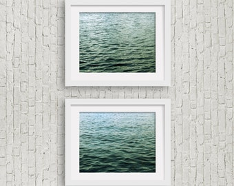 fine art photography set of 2 prints dark green decor minimalist art ombre still water photo lake home decor wall art living room decor