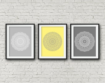 Grey yellow print set over the bed decor matching wall art set of three posters set of 3 prints mandala wall art boho style decor modern art