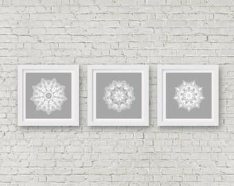 Grey Mandala wall art set of 3 matching prints white wall art modern bathroom wall prints set boho art dining room wall decor hippie artwork