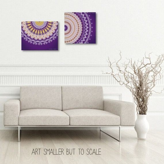 Vibrant Wall Art Set Of 2 Prints Poster Set Purple And Yellow Etsy