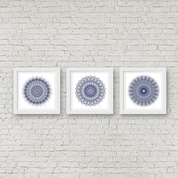 56aed7fe0b4 Mandala wall art set of 3 matching prints navy blue wall art