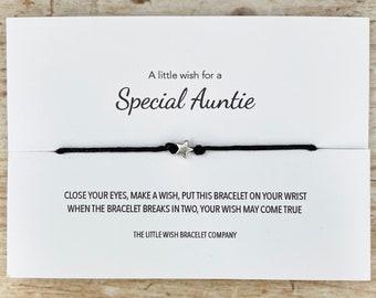 A little wish for a special Auntie - Wish Bracelet Friendship, choose Aunt, Aunty or Auntie, Gift from Niece, Nephew custom bracelet option