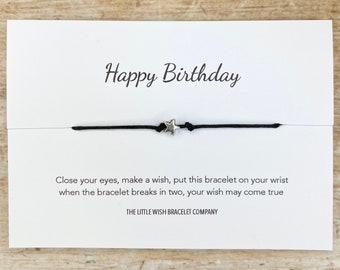 HAPPY BIRTHDAY, Wish Bracelet, A Wish for your Birthday for Him/ Her Friendship best wishes, token gift, custom bracelet option