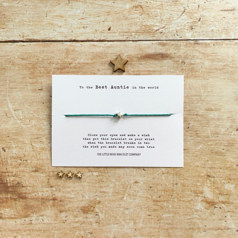 The Best AUNTIE in the World  Wish Bracelet Friendship image 0