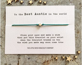 AUNT - Wish Bracelet Gift, Auntie, Aunty Add a Name & Custom options