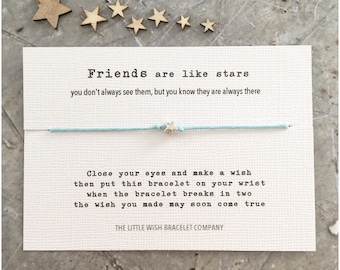 FRIENDS are LIKE STARS with Poem Wish Bracelet Add a Name & Custom options available