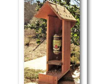 Liquor Wine Bottle Bird Feeder Cedar Wood  use with Most Pint size Alcohol bottles Made of Rustic Natural Wood Birdfeeder