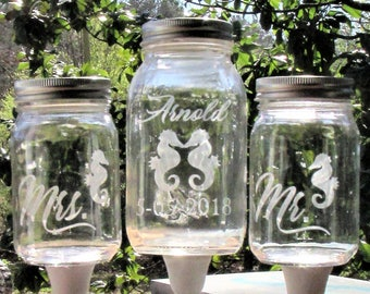 Seahorse Unity Sand Set, Personalized Seahorse Mason Jars on Distressed White Wood Stands, Unity Sand Ceremony, Beach Nautical Wedding