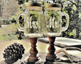 Personalized Toasting Glasses Wood Stands Mr. Mrs. Mason Jar Redneck Wine Rustic, Country Barn Farm Weddings Choice of Fonts & Daisy Lids