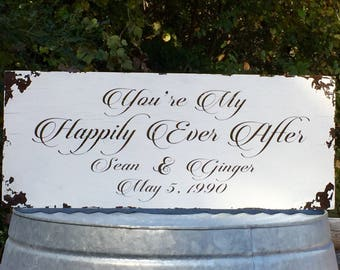 Happily Ever After Personalized Farmhouse Distressed Shabby Chic Painted Solid Wood Wedding Sign with Vintage, aged look and hanging options