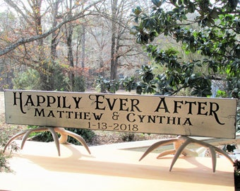 Happily Ever After Personalized Farmhouse Distressed Painted Solid Wood Sign with Vintage, aged look Large Original Wedding  Home Decor Gift